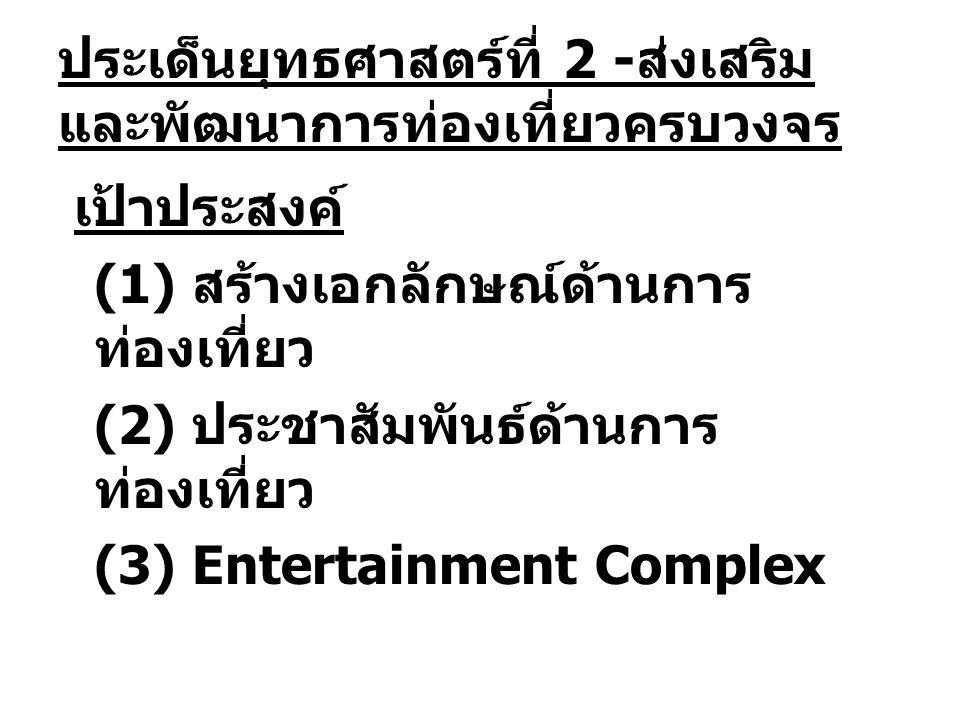 ประเด็นยุทธศาสตร์ที่ 2 - ส่งเสริม และพัฒนาการท่องเที่ยวครบวงจร เป้าประสงค์ (1) สร้างเอกลักษณ์ด้านการ ท่องเที่ยว (2) ประชาสัมพันธ์ด้านการ ท่องเที่ยว (3) Entertainment Complex
