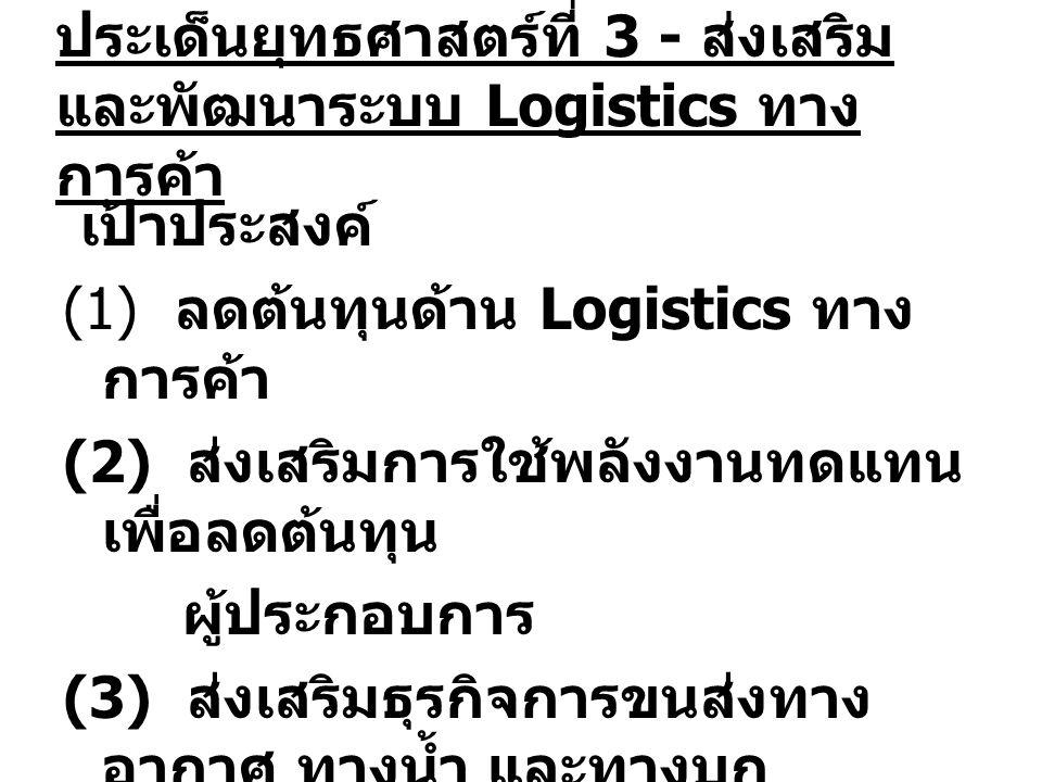 ประเด็นยุทธศาสตร์ที่ 3 - ส่งเสริม และพัฒนาระบบ Logistics ทาง การค้า เป้าประสงค์ (1) ลดต้นทุนด้าน Logistics ทาง การค้า (2) ส่งเสริมการใช้พลังงานทดแทน เพื่อลดต้นทุน ผู้ประกอบการ (3) ส่งเสริมธุรกิจการขนส่งทาง อากาศ ทางน้ำ และทางบก
