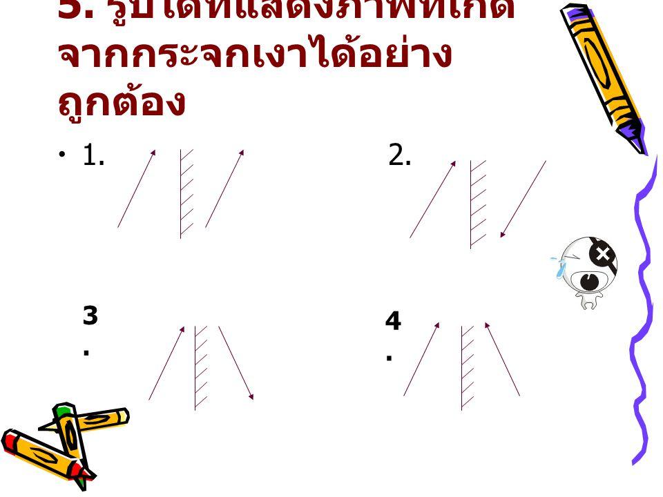 5. รูปใดที่แสดงภาพที่เกิด จากกระจกเงาได้อย่าง ถูกต้อง 1.2. 3.3. 4.4.