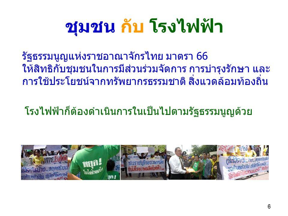 6 ชุมชน กับ โรงไฟฟ้า โรงไฟฟ้าก็ต้องดำเนินการในเป็นไปตามรัฐธรรมนูญด้วย รัฐธรรมนูญแห่งราชอาณาจักรไทย มาตรา 66 ให้สิทธิกับชุมชนในการมีส่วนร่วมจัดการ การบำรุงรักษา และ การใช้ประโยชน์จากทรัพยากรธรรมชาติ สิ่งแวดล้อมท้องถิ่น