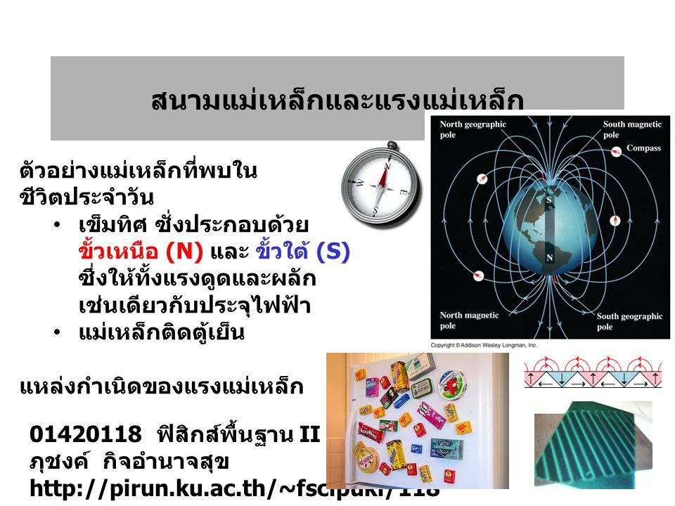 สนามแม่เหล็กและแรงแม่เหล็ก 01420118 ฟิสิกส์พื้นฐาน II ภุชงค์ กิจอำนาจสุข http://pirun.ku.ac.th/~fscipuki/118 ตัวอย่างแม่เหล็กที่พบใน ชีวิตประจำวัน เข็มทิศ ซั่งประกอบด้วย ขั้วเหนือ (N) และ ขั้วใต้ (S) ซึ่งให้ทั้งแรงดูดและผลัก เช่นเดียวกับประจุไฟฟ้า แม่เหล็กติดตู้เย็น แหล่งกำเนิดของแรงแม่เหล็ก