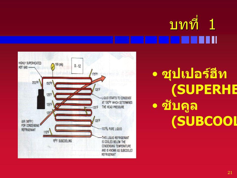 21 บทที่ 1 ซุปเปอร์ฮีท (SUPERHEAT) ซับคูล (SUBCOOLED)