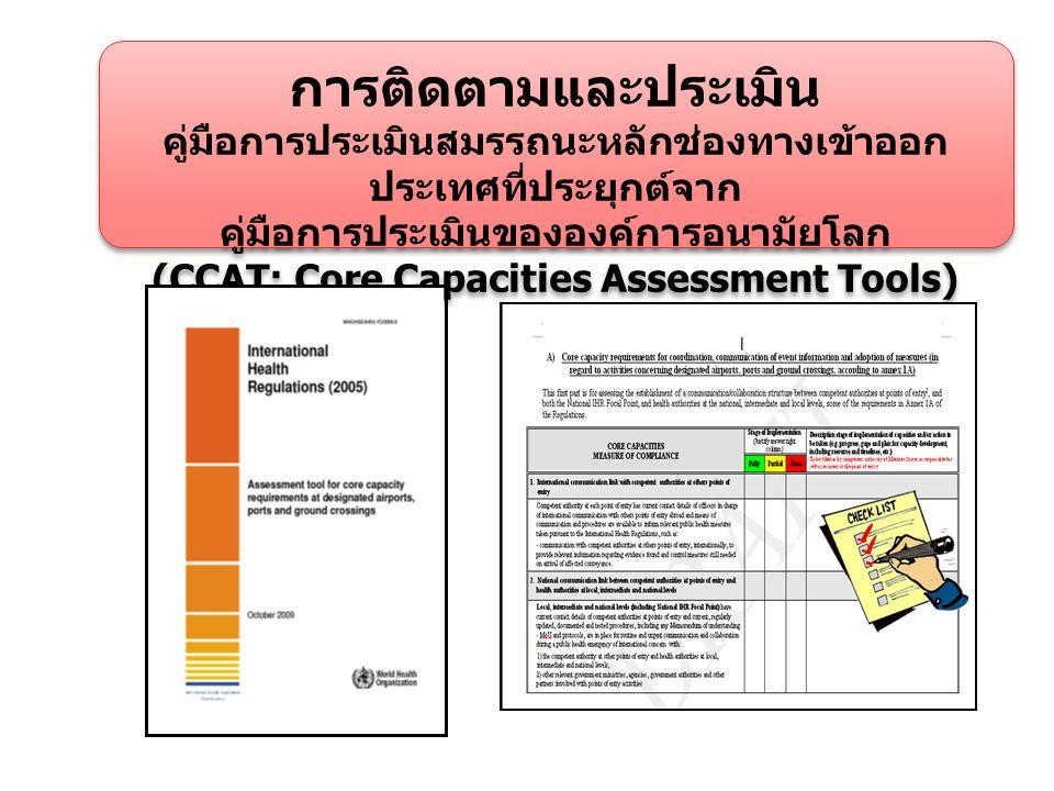 การติดตามและประเมิน คู่มือการประเมินสมรรถนะหลักช่องทางเข้าออก ประเทศที่ประยุกต์จาก คู่มือการประเมินขององค์การอนามัยโลก (CCAT: Core Capacities Assessment Tools) การติดตามและประเมิน คู่มือการประเมินสมรรถนะหลักช่องทางเข้าออก ประเทศที่ประยุกต์จาก คู่มือการประเมินขององค์การอนามัยโลก (CCAT: Core Capacities Assessment Tools)