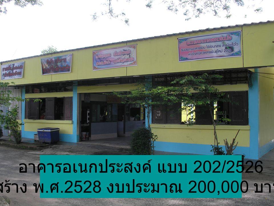 อาคารอเนกประสงค์ แบบ 202/2526 สร้าง พ. ศ.2528 งบประมาณ 200,000 บาท