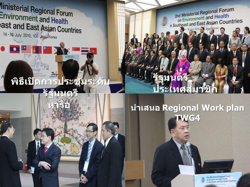 รัฐมนตรี ประเทศสมาชิก นำเสนอ Regional Work plan TWG4 พิธีเปิดการประชุมระดับ รัฐมนตรี หารือ