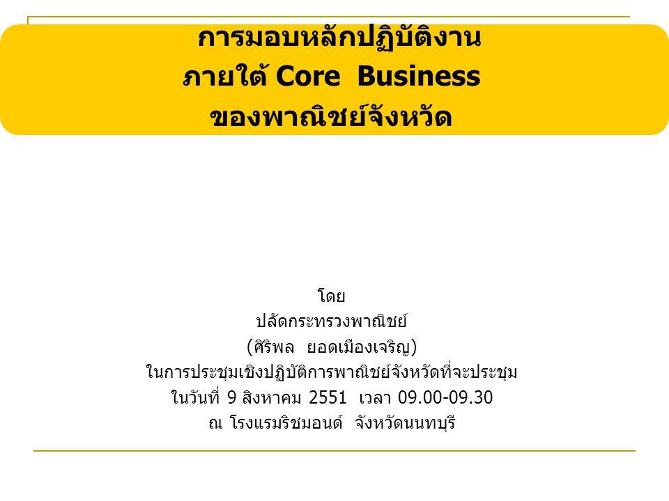 การมอบหลักปฏิบัติงาน ภายใต้ Core Business ของพาณิชย์จังหวัด โดย ปลัดกระทรวงพาณิชย์ (ศิริพล ยอดเมืองเจริญ) ในการประชุมเชิงปฏิบัติการพาณิชย์จังหวัดที่จะประชุม ในวันที่ 9 สิงหาคม 2551 เวลา 09.00-09.30 ณ โรงแรมริชมอนด์ จังหวัดนนทบุรี
