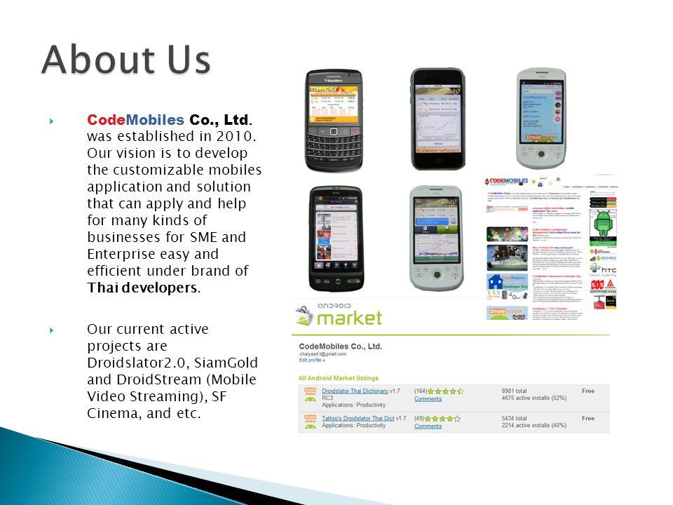  CodeMobiles Co., Ltd. was established in 2010.