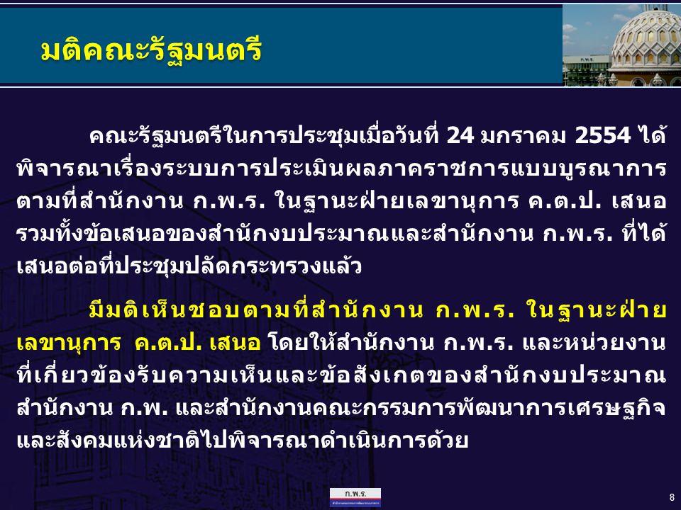 8 มติคณะรัฐมนตรี คณะรัฐมนตรีในการประชุมเมื่อวันที่ 24 มกราคม 2554 ได้ พิจารณาเรื่องระบบการประเมินผลภาคราชการแบบบูรณาการ ตามที่สำนักงาน ก.พ.ร. ในฐานะฝ่