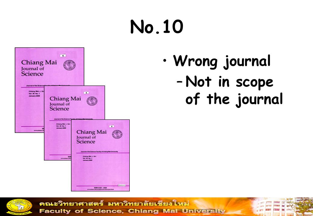 No.10 Wrong journal –Not in scope of the journal
