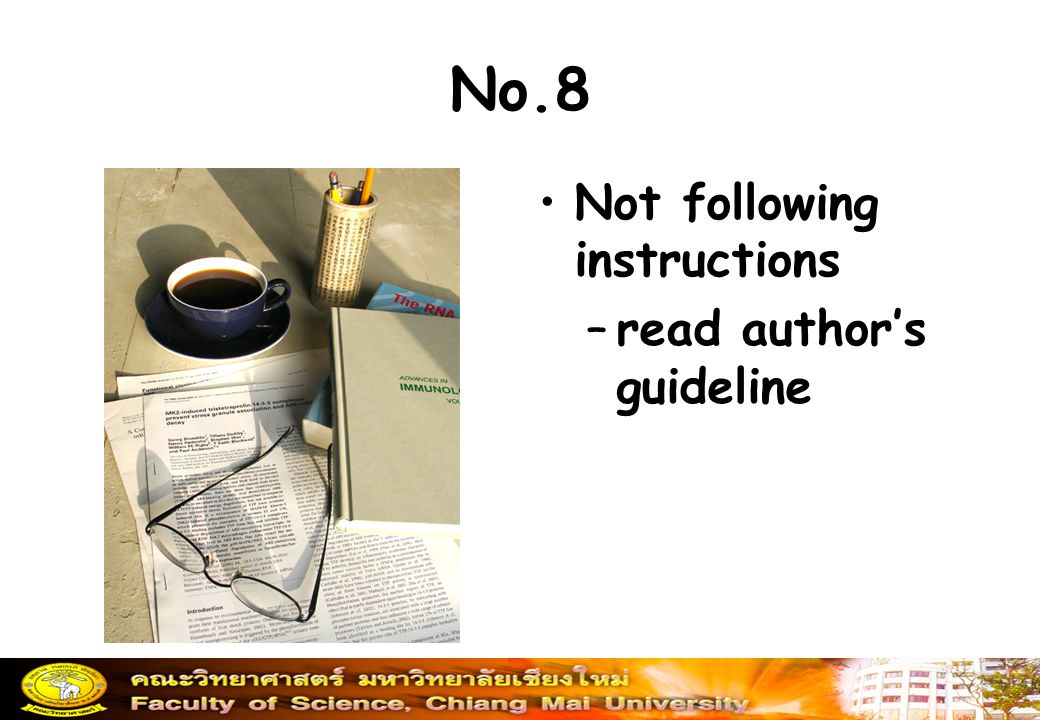 No.8 Not following instructions –read author's guideline