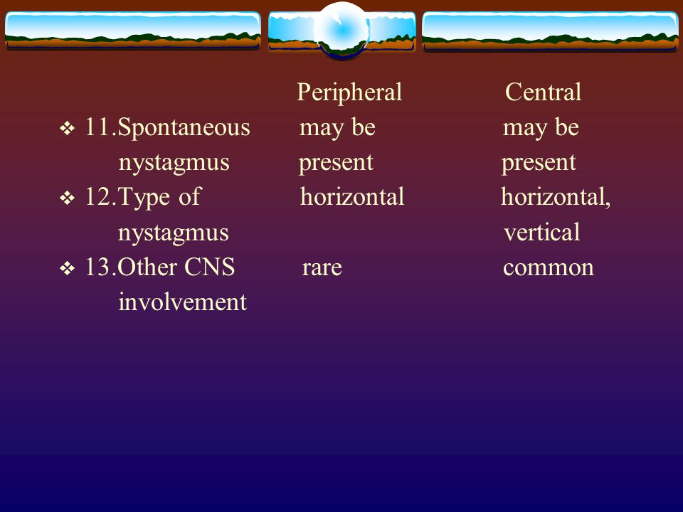 Peripheral Central  11.Spontaneous may be may be nystagmus present present  12.Type of horizontal horizontal, nystagmus vertical  13.Other CNS rare common involvement