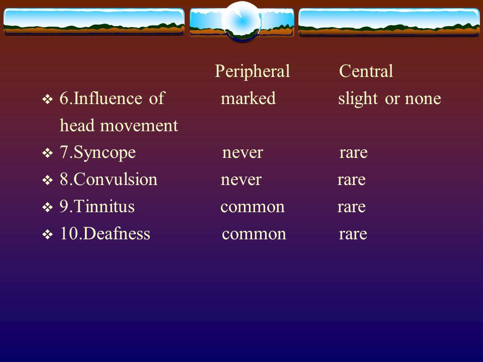 Peripheral Central  6.Influence of marked slight or none head movement  7.Syncope never rare  8.Convulsion never rare  9.Tinnitus common rare  10.Deafness common rare