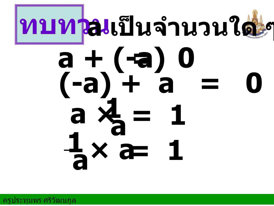 ทบทวน a + (-a) (-a) + a = 0 = 0 a เป็นจำนวนใด ๆ = 1 a × 1 a × a 1 a = 1
