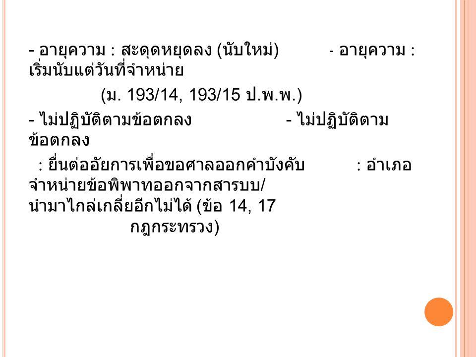 - อายุความ : สะดุดหยุดลง ( นับใหม่ ) - อายุความ : เริ่มนับแต่วันที่จำหน่าย ( ม. 193/14, 193/15 ป. พ. พ.) - ไม่ปฏิบัติตามข้อตกลง - ไม่ปฏิบัติตาม ข้อตกล