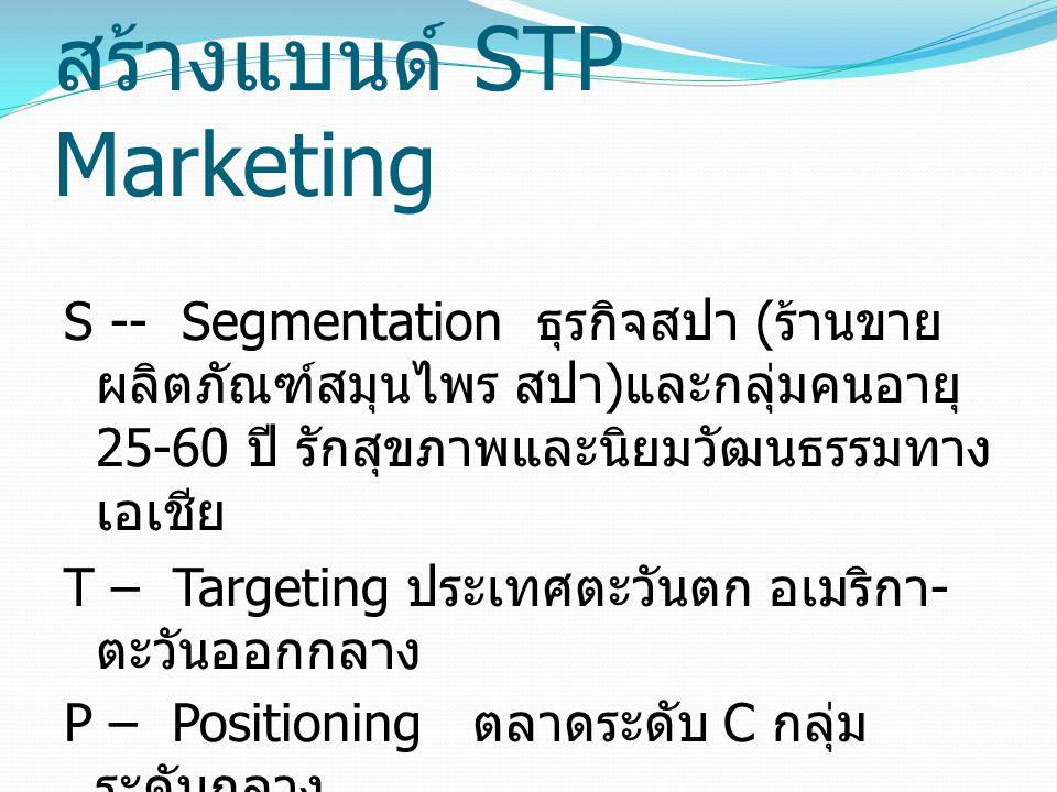 สร้างแบนด์ STP Marketing S -- Segmentation ธุรกิจสปา ( ร้านขาย ผลิตภัณฑ์สมุนไพร สปา ) และกลุ่มคนอายุ 25-60 ปี รักสุขภาพและนิยมวัฒนธรรมทาง เอเชีย T – T