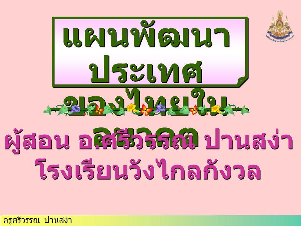 ครูศรีวรรณ ปานสง่า แผนพัฒนา ประเทศ ของไทยใน อนาคต แผนพัฒนา ประเทศ ของไทยใน อนาคต ผู้สอน อ. ศรีวรรณ ปานสง่า โรงเรียนวังไกลกังวล ผู้สอน อ. ศรีวรรณ ปานสง