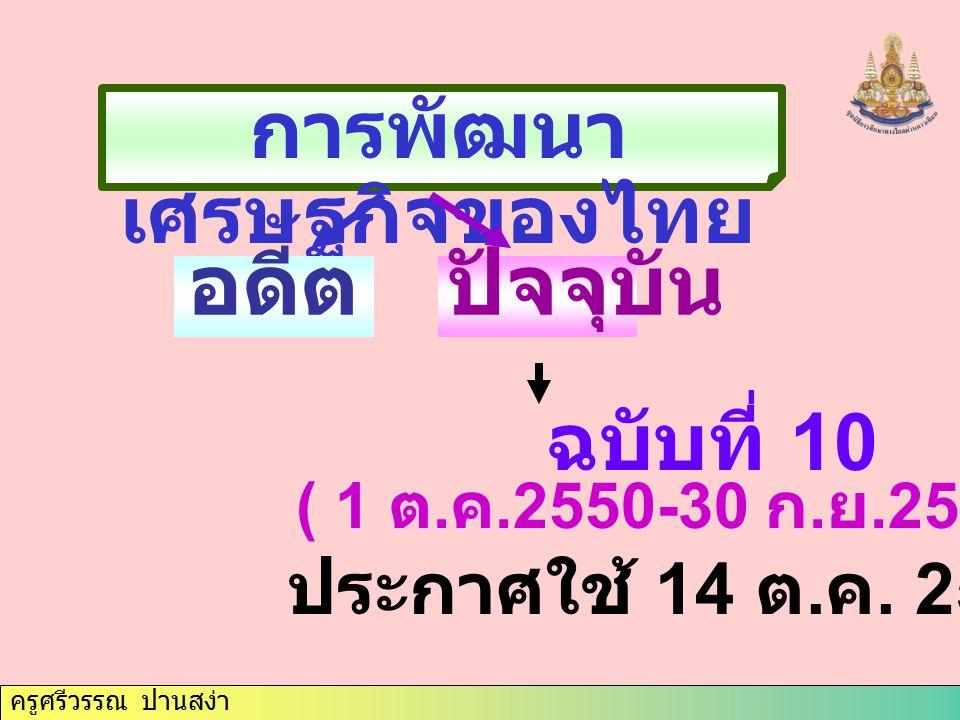 ครูศรีวรรณ ปานสง่า การพัฒนา เศรษฐกิจของไทย อดีตปัจจุบัน ฉบับที่ 10 ( 1 ต. ค.2550-30 ก. ย.2554 ) ประกาศใช้ 14 ต. ค. 2549