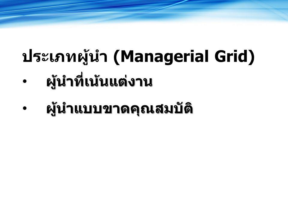ประเภทผู้นำ (Managerial Grid) ผู้นำที่เน้นแต่งาน ผู้นำแบบขาดคุณสมบัติ