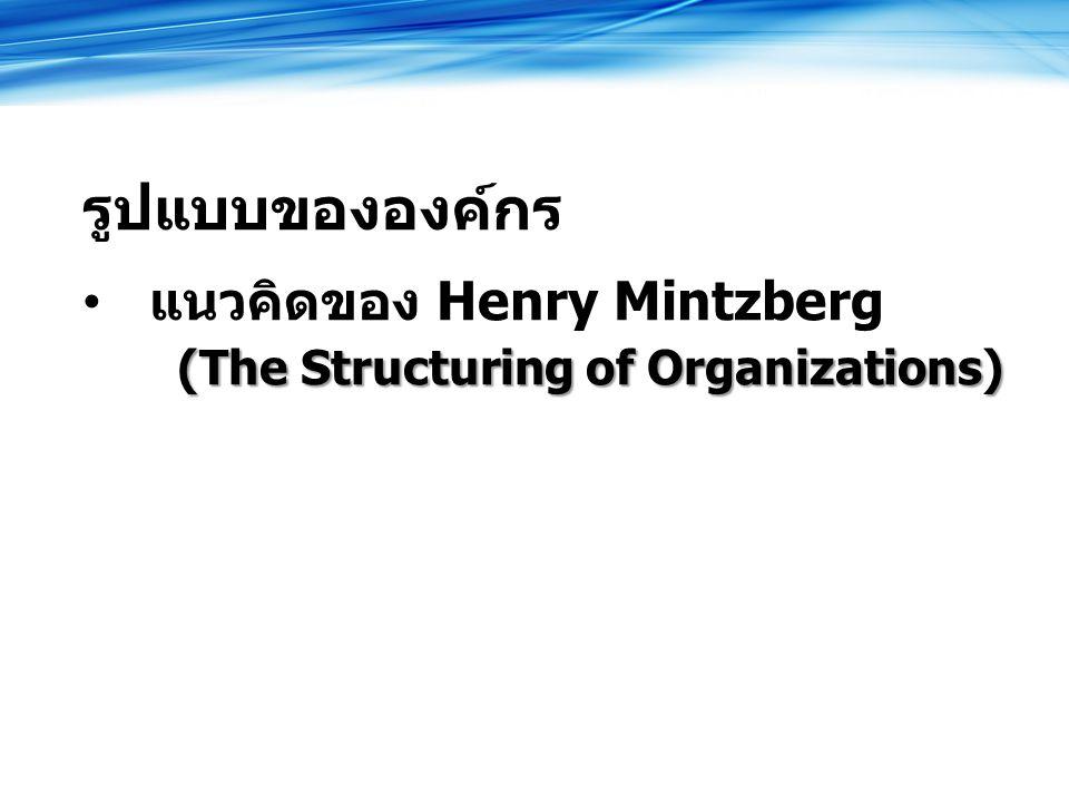 รูปแบบขององค์กร แนวคิดของ Henry Mintzberg (The Structuring of Organizations)