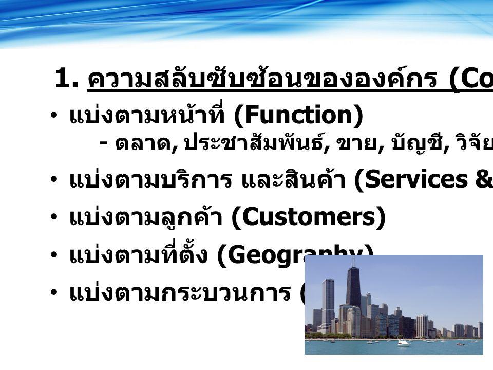 แบ่งตามหน้าที่ (Function) - ตลาด, ประชาสัมพันธ์, ขาย, บัญชี, วิจัย แบ่งตามบริการ และสินค้า (Services & Products) แบ่งตามลูกค้า (Customers) แบ่งตามที่ตั้ง (Geography) แบ่งตามกระบวนการ (Process) 1.
