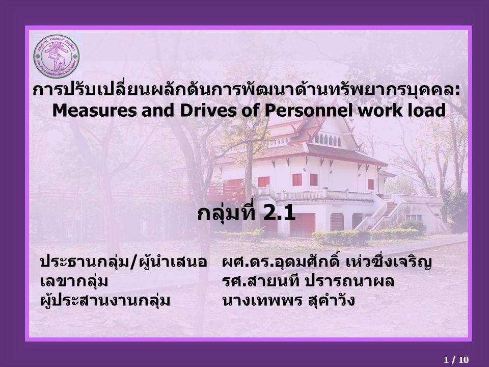 การปรับเปลี่ยนผลักดันการพัฒนาด้านทรัพยากรบุคคล: Measures and Drives of Personnel work load กลุ่มที่ 2.1 ประธานกลุ่ม/ผู้นำเสนอ ผศ.ดร.อุดมศักดิ์ เห่วซึ่งเจริญ เลขากลุ่ม รศ.สายนที ปรารถนาผล ผู้ประสานงานกลุ่ม นางเทพพร สุคำวัง 1 / 10
