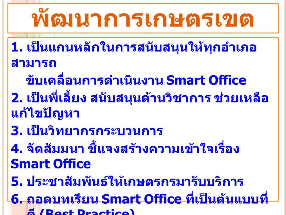1. เป็นแกนหลักในการสนับสนุนให้ทุกอำเภอ สามารถ ขับเคลื่อนการดำเนินงาน Smart Office 2. เป็นพี่เลี้ยง สนับสนุนด้านวิชาการ ช่วยเหลือ แก้ไขปัญหา 3. เป็นวิท