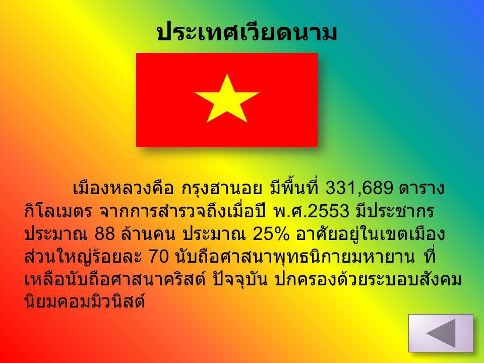 ประเทศเวียดนาม เมืองหลวงคือ กรุงฮานอย มีพื้นที่ 331,689 ตาราง กิโลเมตร จากการสำรวจถึงเมื่อปี พ. ศ.2553 มีประชากร ประมาณ 88 ล้านคน ประมาณ 25% อาศัยอยู่
