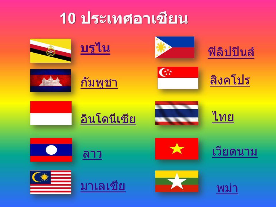 10 ประเทศอาเซียน บรูไน มาเลเซีย กัมพูชา อินโดนีเซีย ลาว ฟิลิปปินส์ สิงคโปร ไทย เวียดนาม พม่า