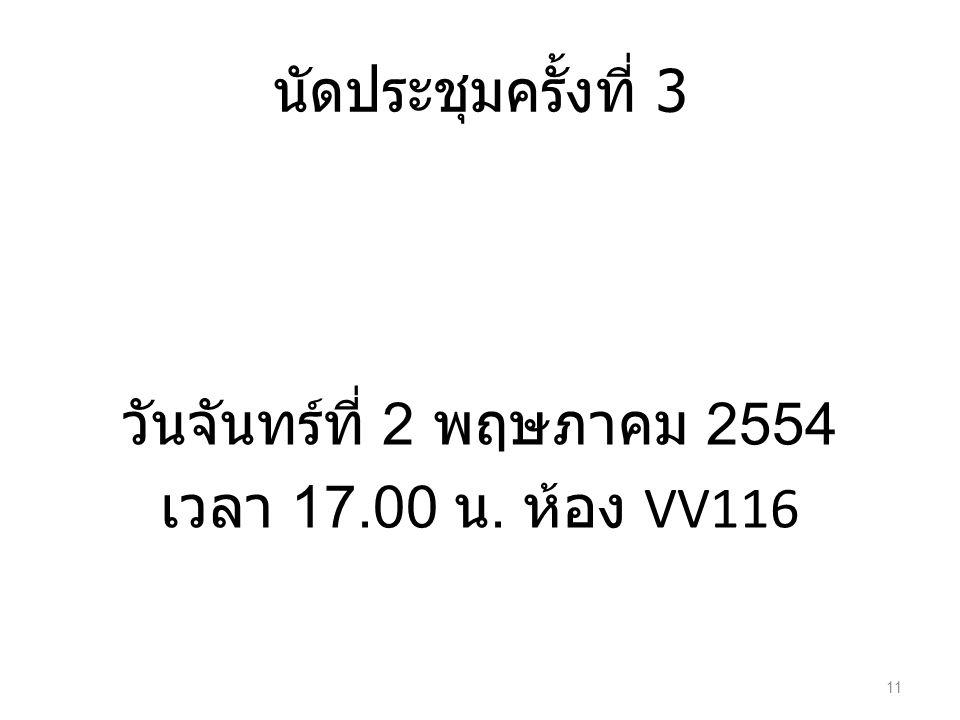 นัดประชุมครั้งที่ 3 วันจันทร์ที่ 2 พฤษภาคม 2554 เวลา 17.00 น. ห้อง VV116 11