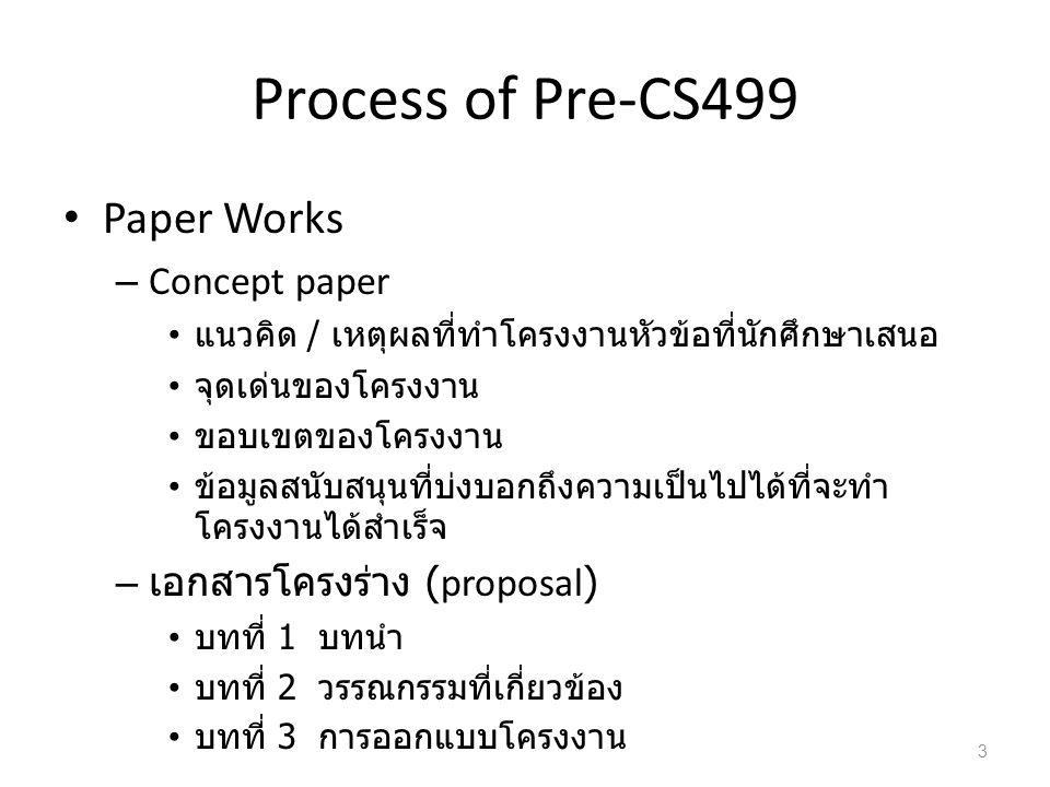 Process of Pre-CS499 : Schedule 4 กิจกรรมเมษายน 2554 พฤษภาคม 2554 มิถุนายน 2554 เตรียมเอกสาร Concept Paper ส่งเอกสาร Concept Paper จำนวน 3 ชุด ประกาศกำหนดการนำเสนอ Concept Idea นำเสนอ Concept Idea ส่งเอกสาร Concept Paper จำนวน 3 ชุด ( รอบ แก้ไข ) นำเสนอ Concept Idea ( รอบแก้ไข ) เตรียมเอกสารโครงร่าง ส่งเอกสารโครงร่าง จำนวน 2 ชุด ประกาศกำหนดการนำเสนอเอกสารโครงร่าง นำเสนอเอกสารโครงร่าง ประกาศผู้มีสิทธิลงทะเบียนวิชา คพ.499 ประจำ ภาคการศึกษาที่ 1/2554 ลงทะเบียนวิชา คพ.499 (1/2554) 28 มี.
