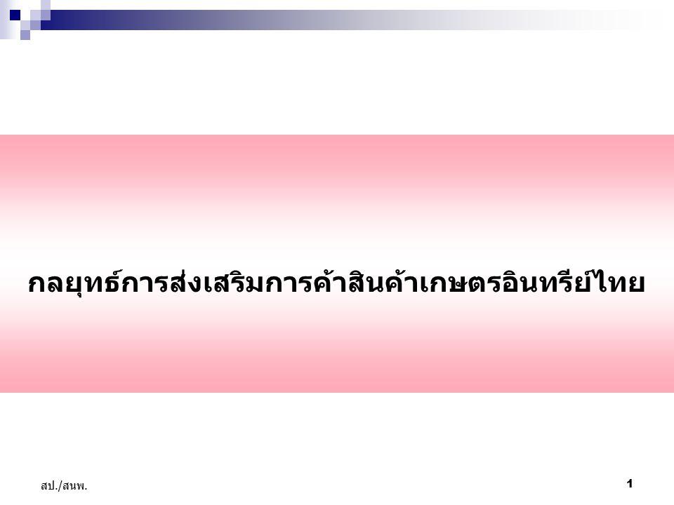 1 สป./ สนพ. กลยุทธ์การส่งเสริมการค้าสินค้าเกษตรอินทรีย์ไทย