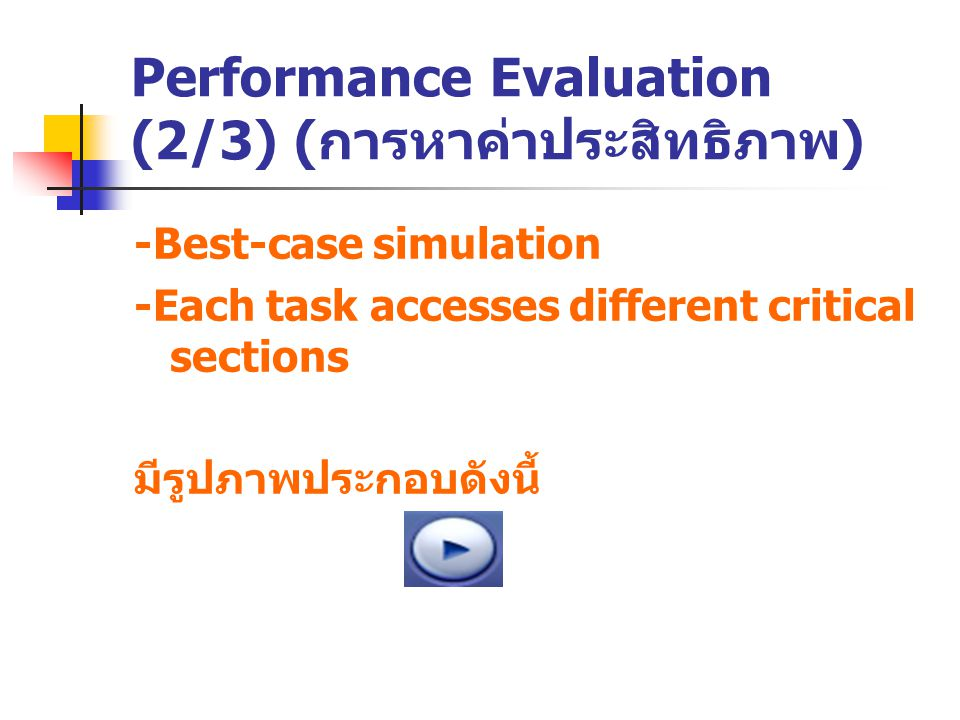 Performance Evaluation (2/3) ( การหาค่าประสิทธิภาพ ) -Best-case simulation -Each task accesses different critical sections มีรูปภาพประกอบดังนี้