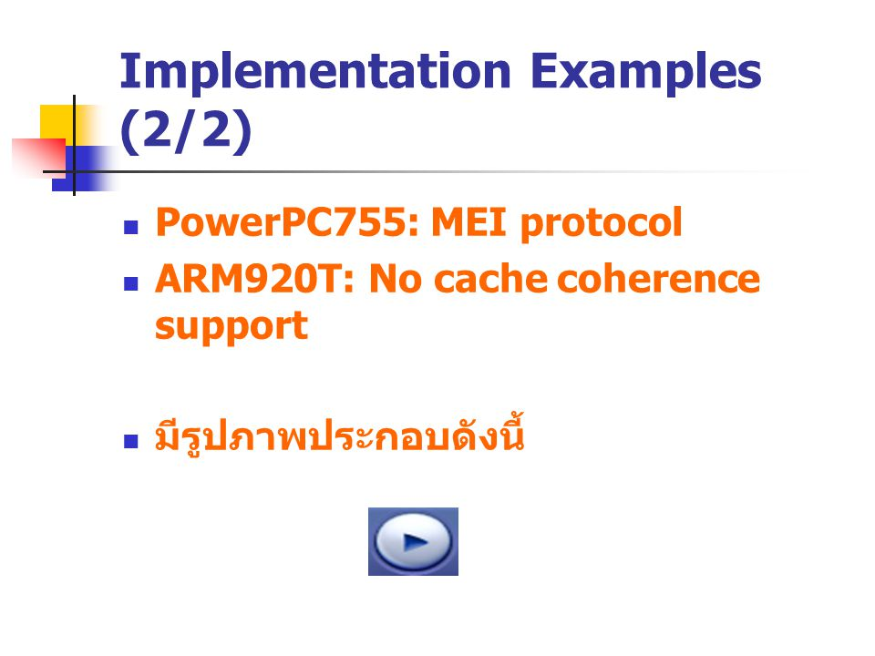 Implementation Examples (2/2) PowerPC755: MEI protocol ARM920T: No cache coherence support มีรูปภาพประกอบดังนี้