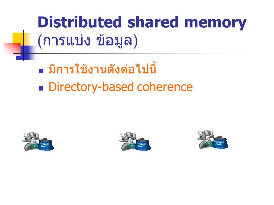 Distributed shared memory ( การแบ่ง ข้อมูล ) มีการใช้งานดังต่อไปนี้ Directory-based coherence
