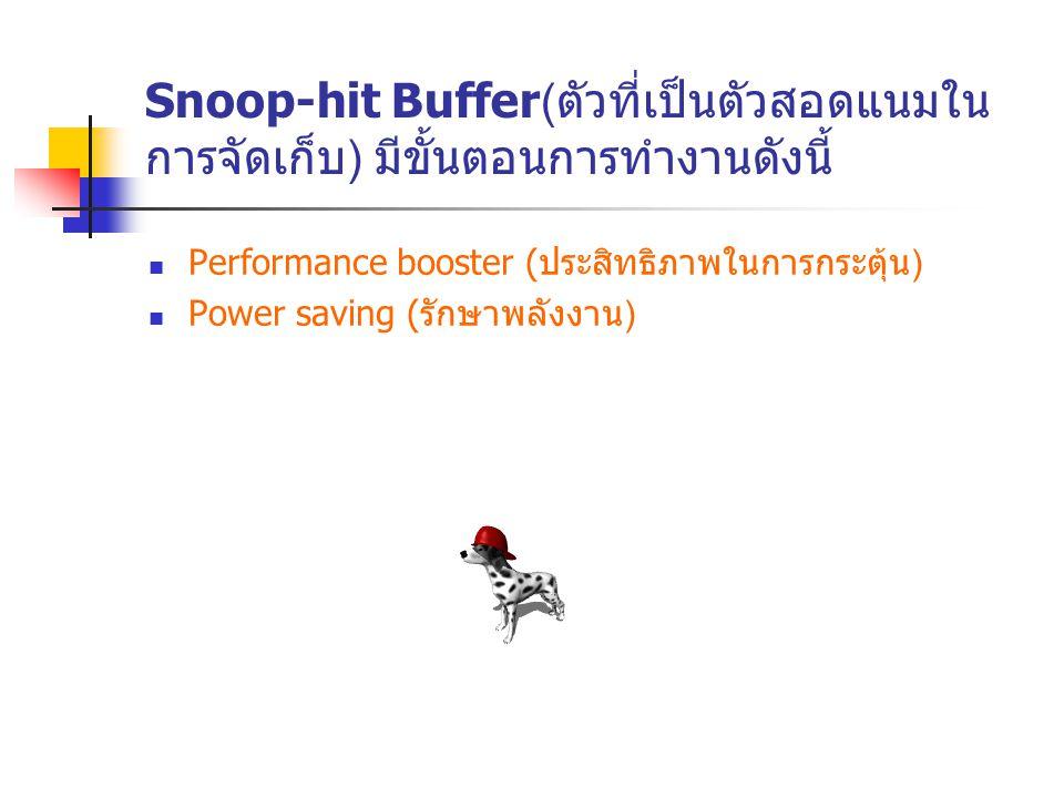 Snoop-hit Buffer( ตัวที่เป็นตัวสอดแนมใน การจัดเก็บ ) มีขั้นตอนการทำงานดังนี้ Performance booster ( ประสิทธิภาพในการกระตุ้น ) Power saving ( รักษาพลังง