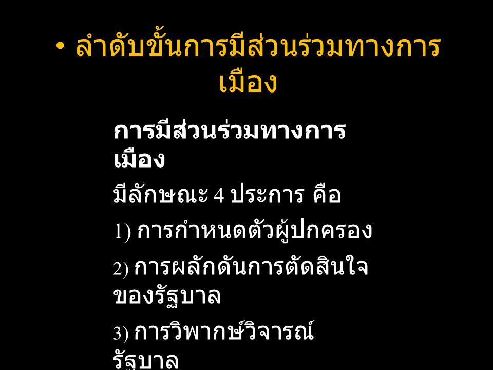 ลำดับขั้นการมีส่วนร่วมทางการ เมือง การมีส่วนร่วมทางการ เมือง มีลักษณะ 4 ประการ คือ 1) การกำหนดตัวผู้ปกครอง 2) การผลักดันการตัดสินใจ ของรัฐบาล 3) การวิพากษ์วิจารณ์ รัฐบาล 4) การชุมนุมเคลื่อนไหว ทางการเมือง