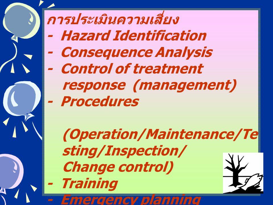 25 การประเมินความเสี่ยง - Hazard Identification - Consequence Analysis - Control of treatment response (management) - Procedures (Operation/Maintenanc