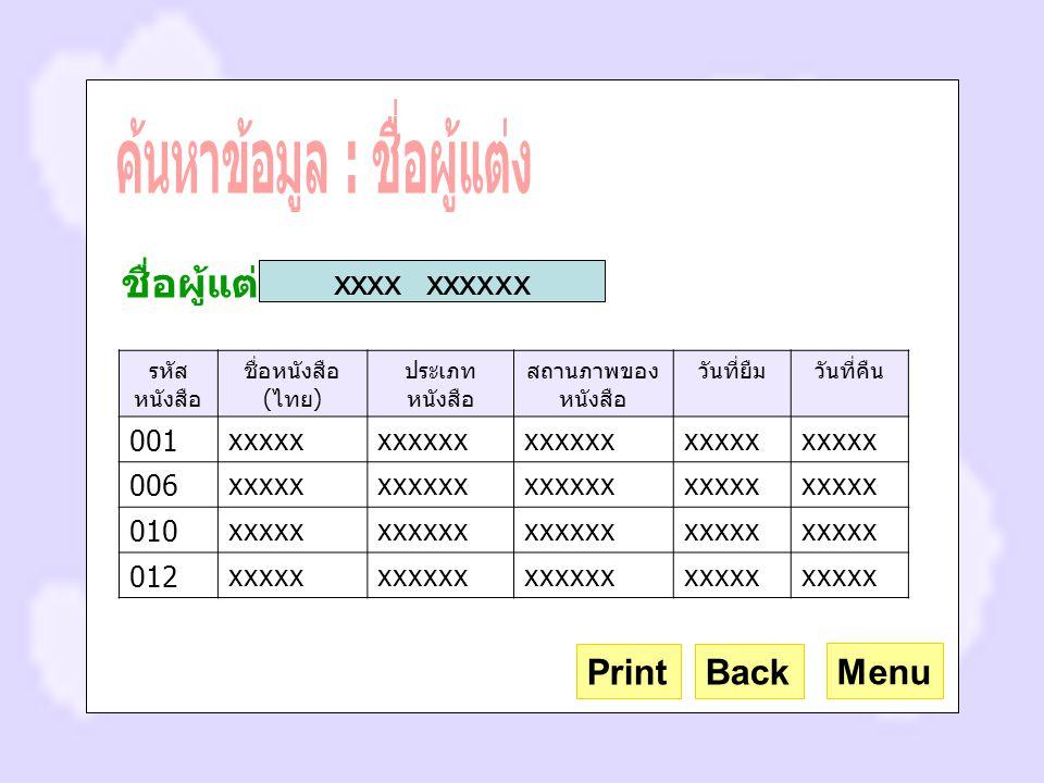 รหัส หนังสือ ชื่อหนังสือ ( ไทย ) ประเภท หนังสือ สถานภาพของ หนังสือ วันที่ยืมวันที่คืน 001xxxxxxxxxxx xxxxx 006xxxxxxxxxxx xxxxx 010xxxxxxxxxxx xxxxx 012xxxxxxxxxxx xxxxx Menu Back ชื่อผู้แต่ง xxxx xxxxxx Print