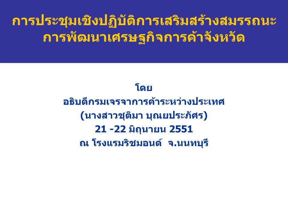 โดย อธิบดีกรมเจรจาการค้าระหว่างประเทศ (นางสาวชุติมา บุณยประภัศร) 21 -22 มิถุนายน 2551 ณ โรงแรมริชมอนด์ จ.นนทบุรี การประชุมเชิงปฏิบัติการเสริมสร้างสมรรถนะ การพัฒนาเศรษฐกิจการค้าจังหวัด