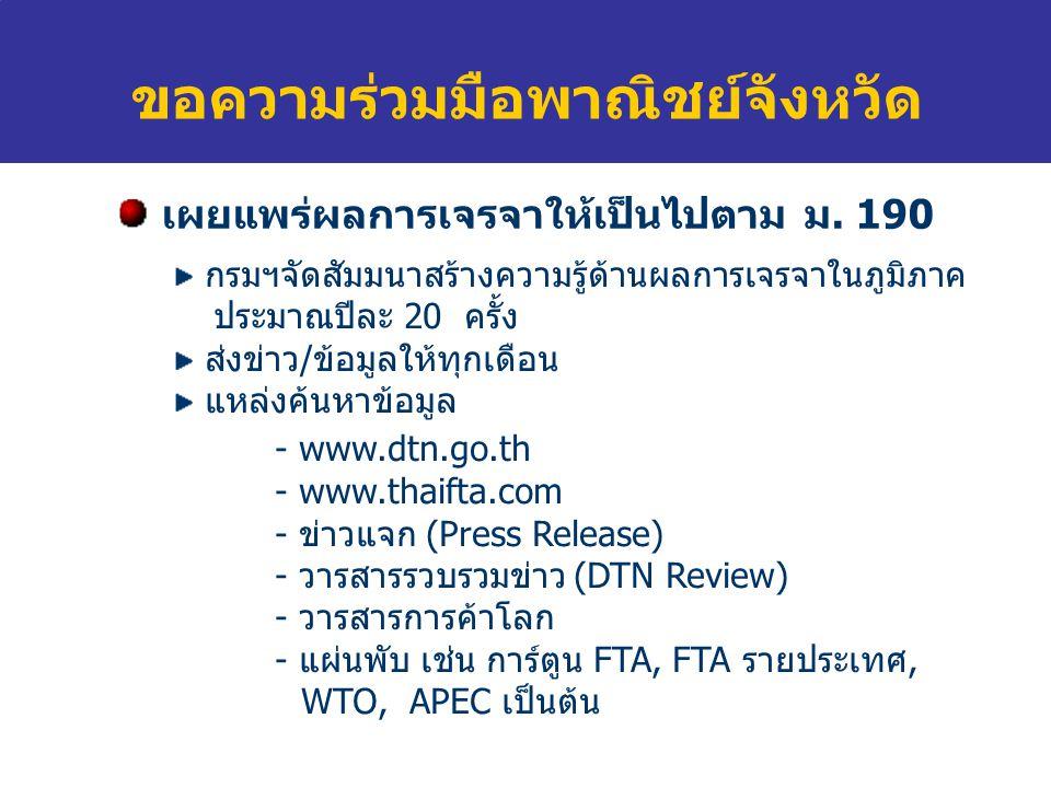 ขอความร่วมมือพาณิชย์จังหวัด  กรมฯจัดสัมมนา แหล่งค้นหาข้อมูลการเจรจา Website - www.dtn.go.thwww.dtn.go.th - www.thaifta.comwww.thaifta.com เอกสารเผยแพร่ - ข่าวแจก (Press Release) - วารสารรวบรวมข่าว (DTN Review) - วารสารการค้าโลก - แผ่นพับ เช่น การ์ตูน FTA,FTA รายประเทศ, WTO, APEC เป็นต้น หากจังหวัดมีปัญหาเรื่องสินค้าในตลาด แจ้งข้อมูลให้กรมฯ ได้ที่ - www.dtn.go.thwww.dtn.go.th - Call center 02 507 7555 - ต็ ปณ 150 ปณ.