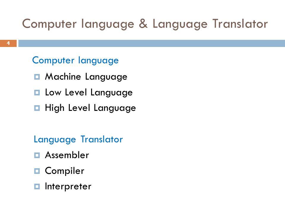 Computer language & Language Translator Computer language  Machine Language  Low Level Language  High Level Language Language Translator  Assemble