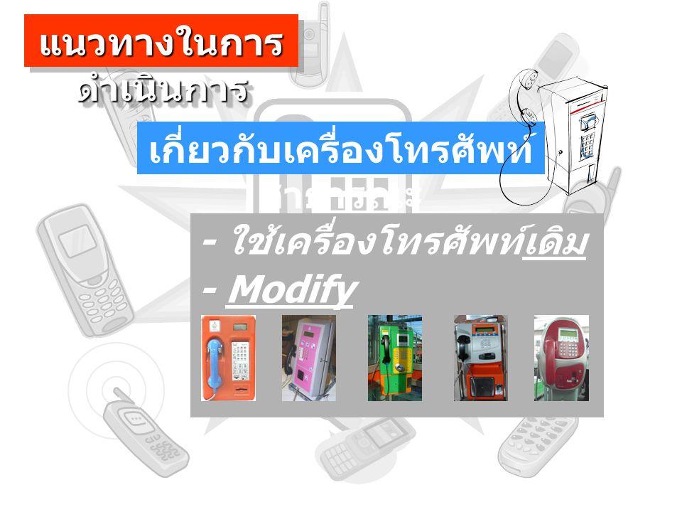 เกี่ยวกับเครื่องโทรศัพท์ สาธารณะ - ใช้เครื่องโทรศัพท์เดิม แนวทางในการ ดำเนินการ - Modify เครื่องโทรศัพท์ สาธารณะ