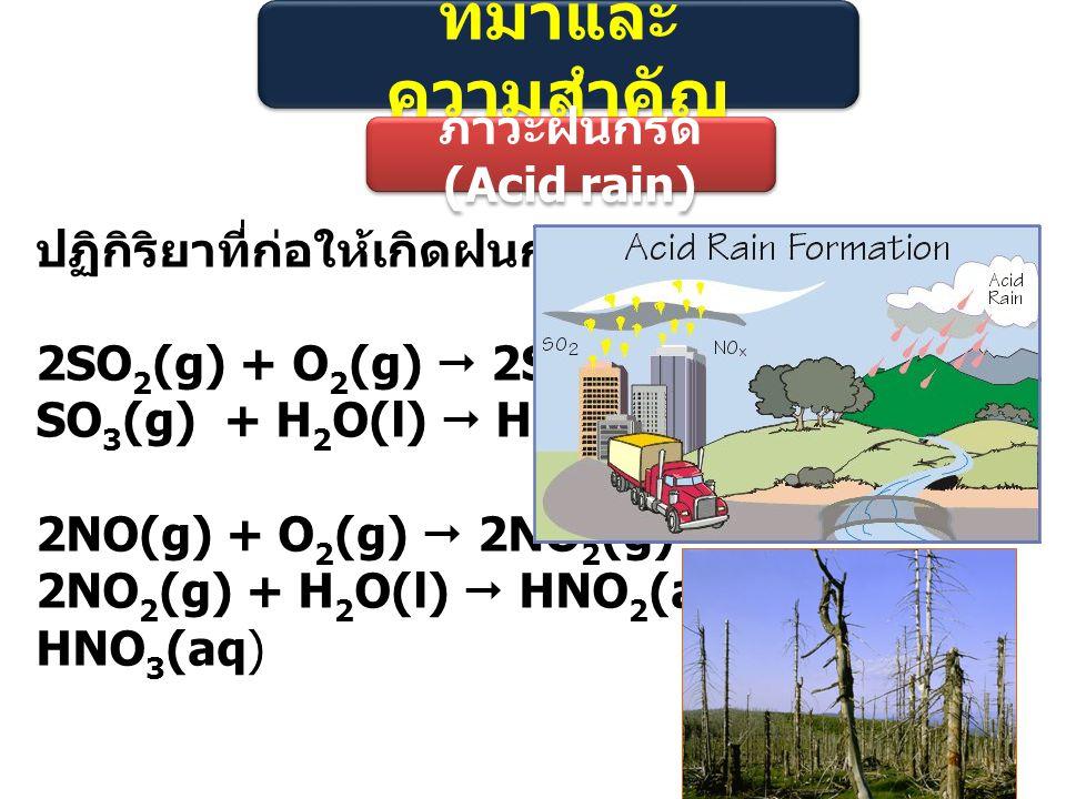 ที่มาและ ความสำคัญ ภาวะฝนกรด (Acid rain) ปฏิกิริยาที่ก่อให้เกิดฝนกรด 2SO 2 (g) + O 2 (g)  2SO 3 (g) SO 3 (g) + H 2 O(l)  H 2 SO 4 (aq) 2NO(g) + O 2