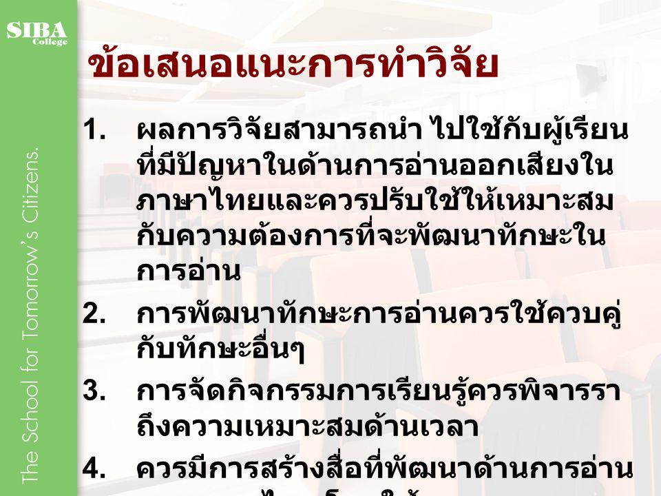 ข้อเสนอแนะการทำวิจัย 1. ผลการวิจัยสามารถนำ ไปใช้กับผู้เรียน ที่มีปัญหาในด้านการอ่านออกเสียงใน ภาษาไทยและควรปรับใช้ให้เหมาะสม กับความต้องการที่จะพัฒนาท