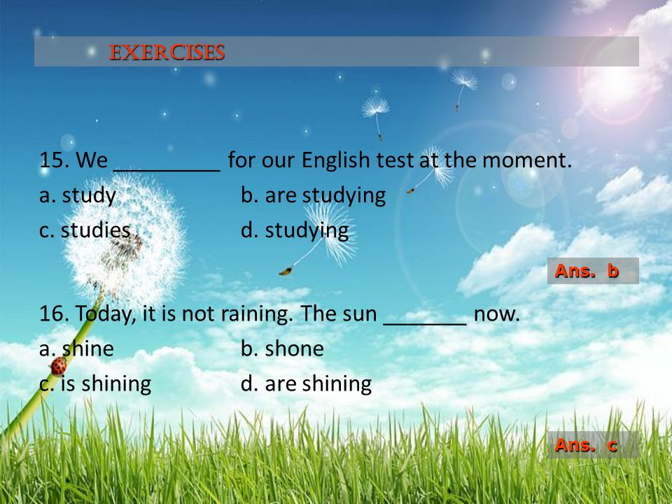 15. We _________ for our English test at the moment. a. studyb. are studying c. studiesd. studying 16. Today, it is not raining. The sun _______ now.