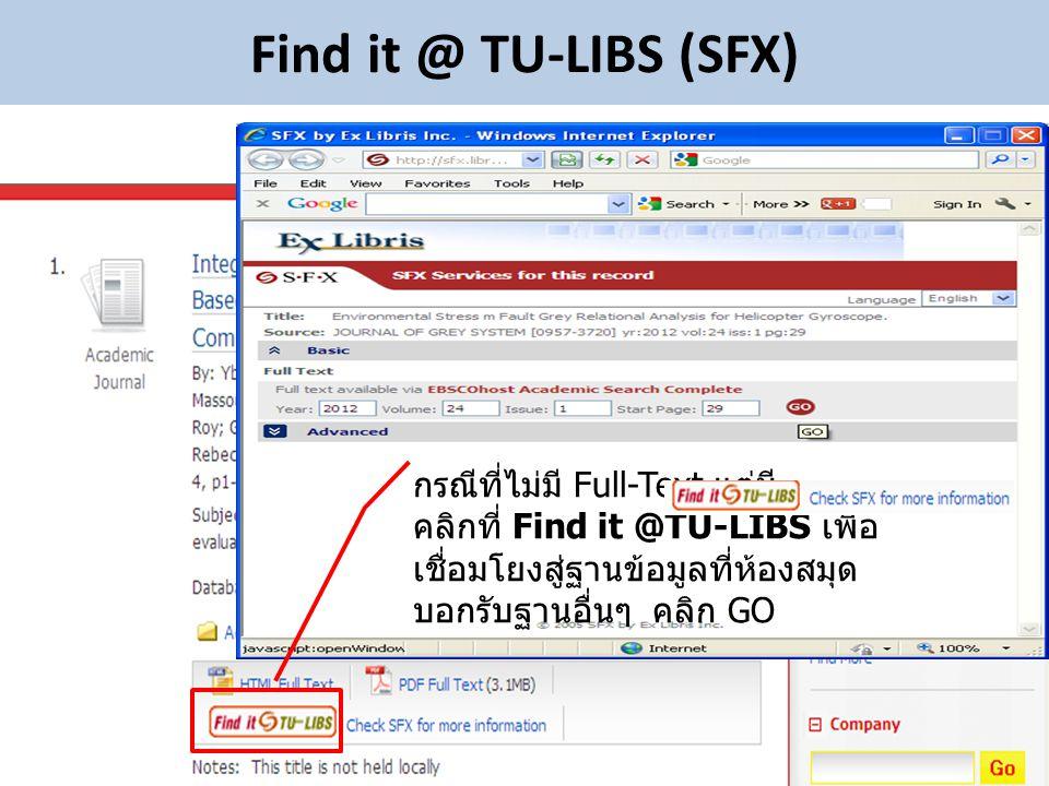 Find it @ TU-LIBS (SFX) กรณีที่ไม่มี Full-Text แต่มี คลิกที่ Find it @TU-LIBS เพื่อ เชื่อมโยงสู่ฐานข้อมูลที่ห้องสมุด บอกรับฐานอื่นๆ คลิก GO