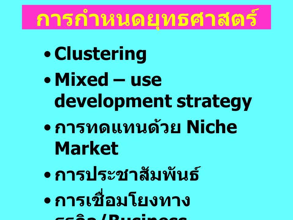 Clustering Mixed – use development strategy การทดแทนด้วย Niche Market การประชาสัมพันธ์ การเชื่อมโยงทาง ธุรกิจ /Business Matching พัฒนาขีดความสามารถของ ผู้ประกอบการ การกำหนดยุทธศาสตร์