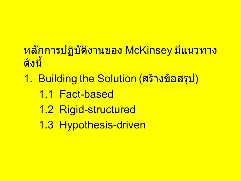 หลักการปฏิบัติงานของ McKinsey มีแนวทาง ดังนี้ 1. Building the Solution ( สร้างข้อสรุป ) 1.1 Fact-based 1.2 Rigid-structured 1.3 Hypothesis-driven