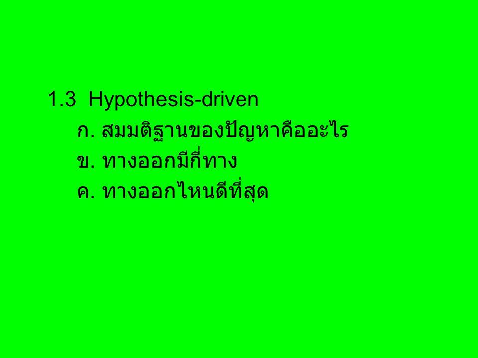1.3 Hypothesis-driven ก. สมมติฐานของปัญหาคืออะไร ข. ทางออกมีกี่ทาง ค. ทางออกไหนดีที่สุด