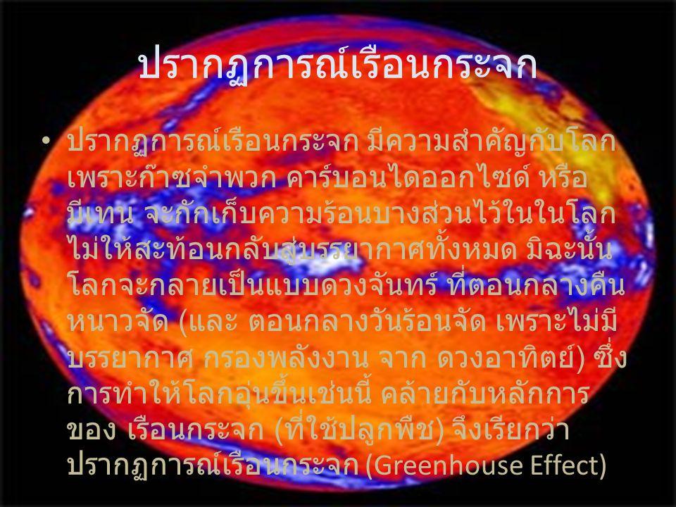 ปรากฏการณ์เรือนกระจก ปรากฏการณ์เรือนกระจก มีความสำคัญกับโลก เพราะก๊าซจำพวก คาร์บอนไดออกไซด์ หรือ มีเทน จะกักเก็บความร้อนบางส่วนไว้ในในโลก ไม่ให้สะท้อน